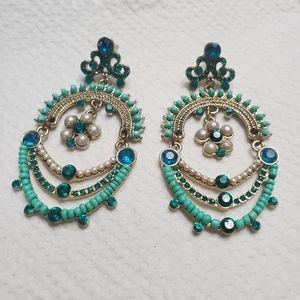 Turquoise chandelier style earrings